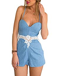 Foxexy Womens Sexy Faux Jeans Spaghatti Strap Hollow out Lace Short Jumpsuit