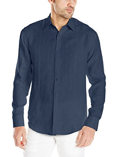 Cubavera Men's Linen Long Sleeve Front Tuck Woven Shirt, Dress Blues, Large
