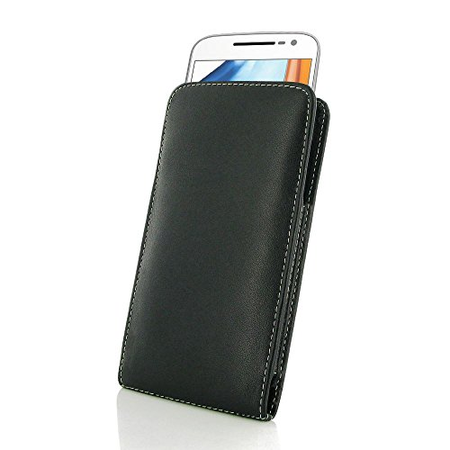 Motorola Leather Pda Case - PDAir for Motorola Moto G4 Leather Vertical Pouch Case Cover - Black