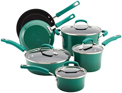 Rachael Ray Classic Brights Hard Enamel Nonstick 10-Piece Cookware Set, Fennel