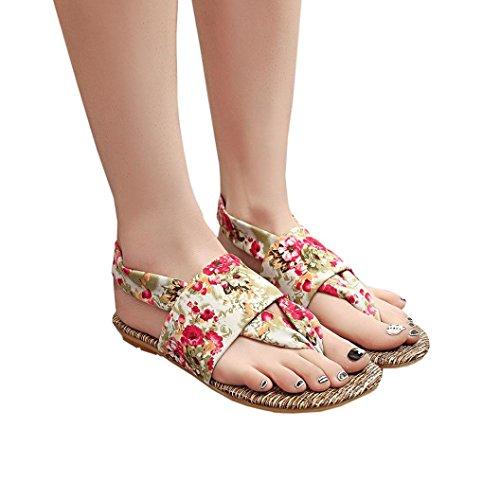 Elevin (tm) Vrouwen Zomer Mode Strand Bloemen Peep-toe Platte Slippers Pantoffel Sandaal Schoenen Rood