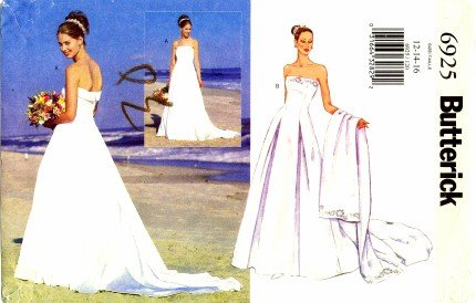 Amazon Butterick 6925 Sewing Pattern Misses Boned Wedding Dress And Stole Size 12