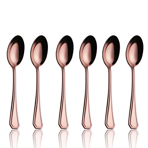 Onlycooker 5-inch 6 Piece Coffee Spoon Flatware Iced Tea Spoons Copper Silverware Set for 6 Stainless Steel Cutlery Dishwasher Safe (Rose Gold) ()