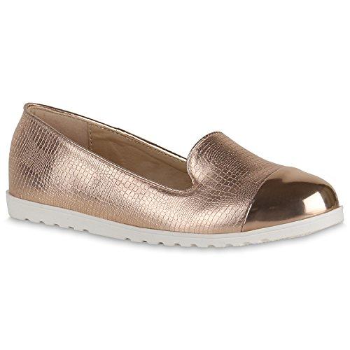 Damen Slipper Loafers Lack Metallic Schuhe Flats Profilsohle Flandell Rose Gold