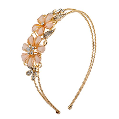 Lux Accessories Dual Peach Floral Flower Pave Faux Pearl Bridal Bride Wedding Bridesmaid Stretch Metal Headband