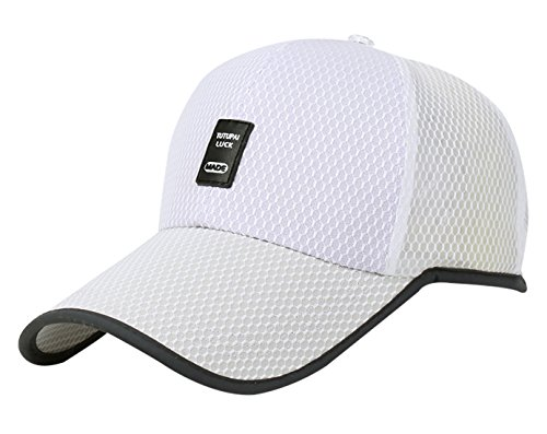 Panegy Sports Hats Adjustable Snapback Onesize Fit Runner Hats Breathable Lightweight Cap White by Panegy