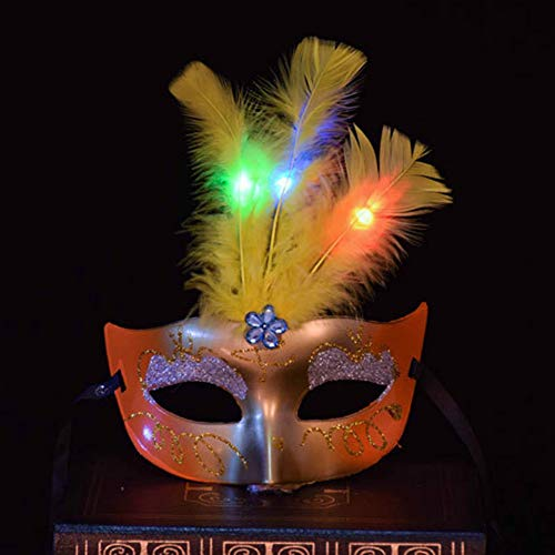 Princess Masquerade Plumed Mask Luminous Feather LED Lighted Venice Party Half Face Masks (Feather Half Masks)