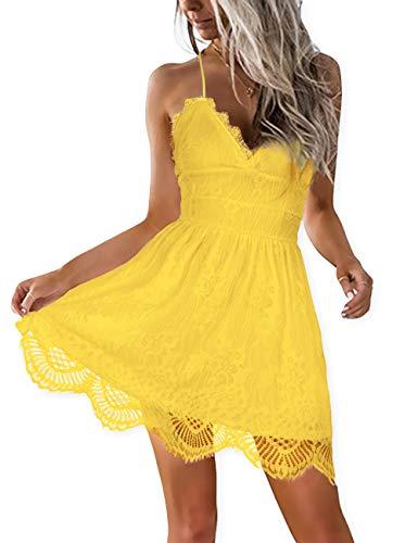 AOOKSMERY Women Summer V-Neck Spaghetti Straps Lace Backless Mini Party Club Beach Dresses (Yellow, Medium)
