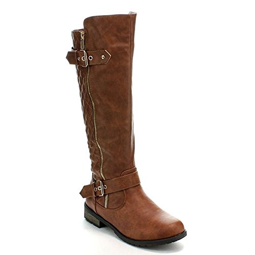 Forever Link Mango-21 Women's Winkle Back Shaft Side Zip Knee High Flat Riding Boots Tan 9