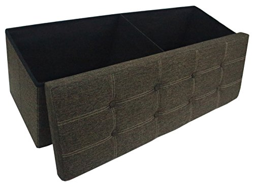 Premium Deep Coffee Brown Linen Folding Ottoman Foot Rest Stool Seat Footrest Shoe Storage Organizer Versatile Space-Saving Bench - Large 43 1/4