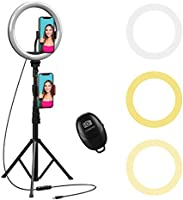 10' Selfie Ring Light with 59' Extendable Tripod Stand & Flexible Phone Holder for Live Stream Makeup Beam Electronics...