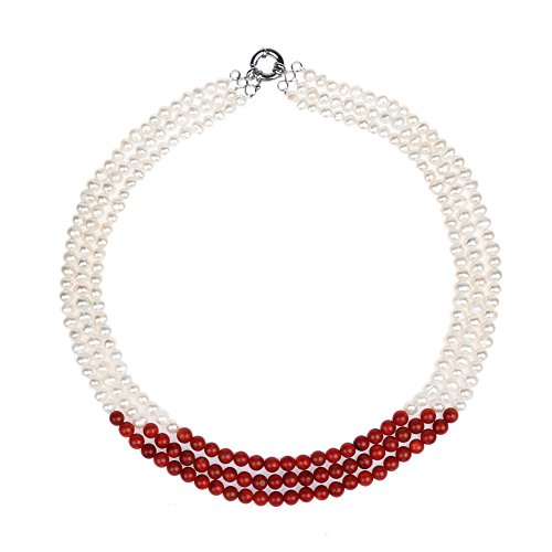 Gem Stone King 20inches Beautiful 3-Row Red Coral & White Cultured Freshwater Pearls Necklace Choker