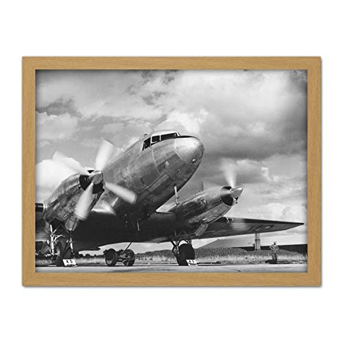 Photo Aeroplane AS Mamba Engine Propellor Artwork Framed Wall Art Print 18X24 Inch ()