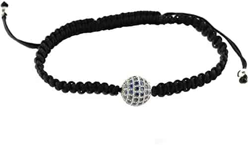NOAR 10MM Tanzanite CZ Rose Gold Color Plated Micro Pave Ball Beads Macrame Bracelets