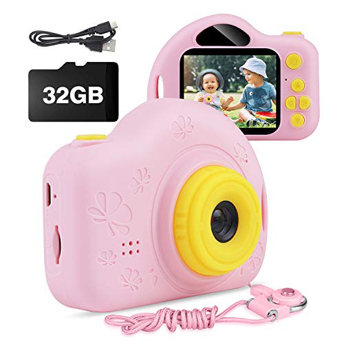 AIMASON Kids Camera, Digital Video Camera Gift for Age 4 5 6 7 8 9 10 Year Old Girls, Mini Rechargeable and Shockproof Camera Creative DIYCamcorder for Little Girl with 32GB SD Card (Pink)