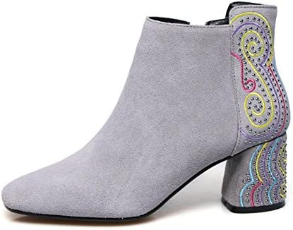 Best 4U? Women's Shoes Suede Winter Fall Boots Chunky Heel Square Toe Booties Ankle Boots Rivet Rhinestone Embroidery Black, Gray, 35