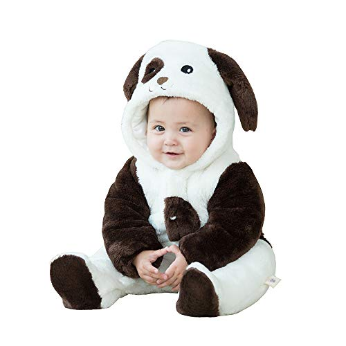 mikistory Infant Romper Newborn Unisex Costume for Baby Newborn Outfit Hoodie Winter Baby Outfits Bodysuits Black Dog 16-24Months