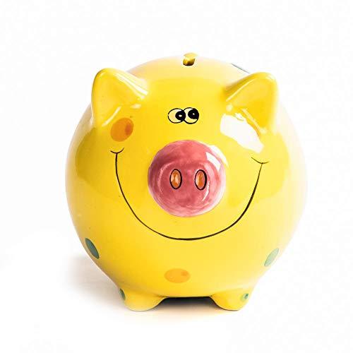 (JYPHM Ceramic Piggy Bank for Kids Piggy Bank Boys and Girls Unique Gift Nursery Décor Keepsake Porcelain Piggy Bank Yellow Small Size(5x5x4inch))