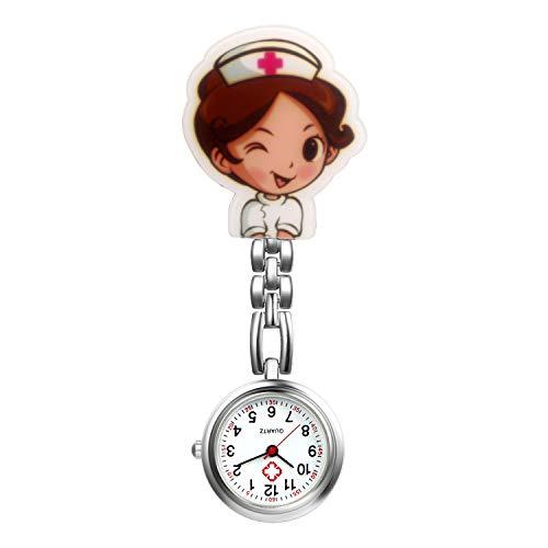 Ladies Nurse Watch Cute Cartoon Clip-on Lapel Hanging-Pendant Doctor Clinic Staff Tunic Stethoscope Quartz Fob Pocket - Lapel Chain Watch
