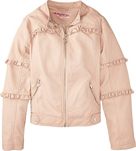 Urban Republic Kids Girl's Bella Faux Leather Ruffle Jacket (Little Kids/Big Kids) Rose Smoke 5-6