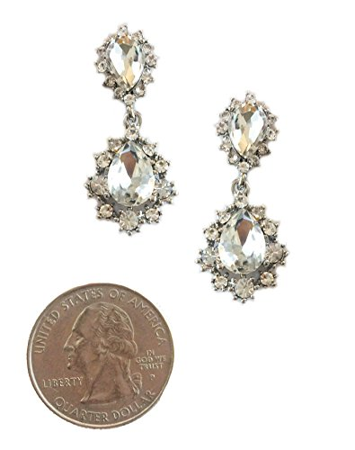 Small Silver Tone Art Deco Tacoris Style Halo Set Pear Rhinestone Wedding Bridal Prom Earrings (Escada Rhinestone)