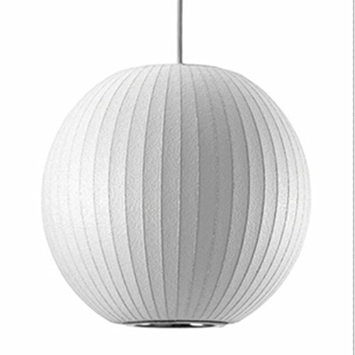 Large Round Silk Pendant - Narrandes D30/40/50/D60cm 1 Light George Nelson Bubble Lamp E26 LED Round Ball White Silk Pendant Lights Lamp Silk Round Chandeliers Light Silk Hanging Drop Light 8237P (D60cm 23.62