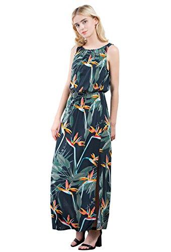 Vero Viva Womens Floral Print Elastic Waist Sleeveless A-Line Maxi Dress Side Split