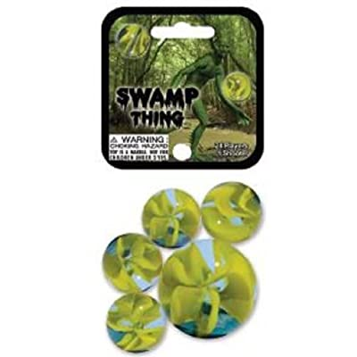 Swamp Thing Game Net Set 25 Piece Glass Mega Marbles Toy: Toys & Games