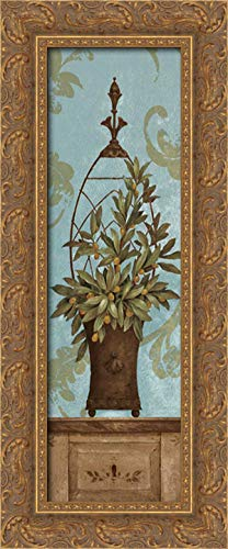 Blue Olive Topiary II 11x24 Gold Ornate Wood Framed Canvas Art by Gladding, Pamela