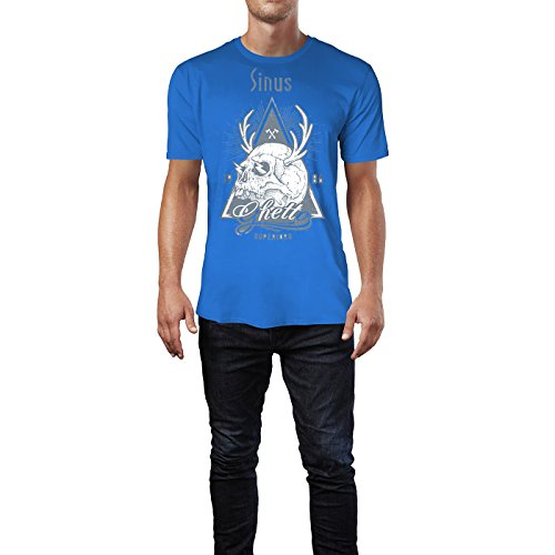 SINUS ART ® Totenkopf mit Hirschgeweih – 1986 Ghetto Superiors Herren T-Shirts in Blau Fun Shirt mit tollen Aufdruck