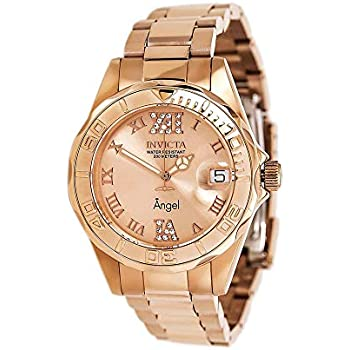 Invicta Womens 14398 Angel Analog Swiss-Quartz Rose Gold Watch