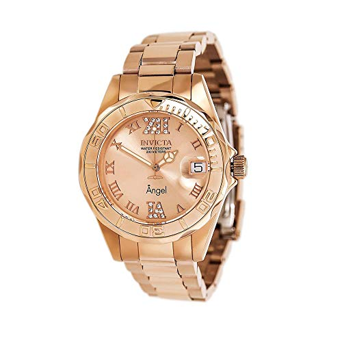 (Invicta Women's 14398 Angel Analog Swiss-Quartz Rose Gold Watch)