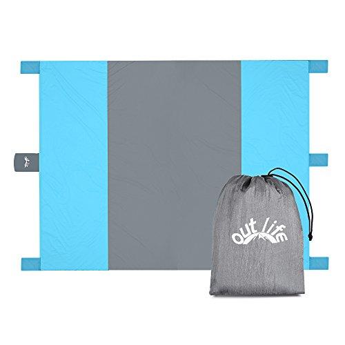 OutLife Sand Strand-Decke, breite 275 x 215cm für Familie, tragbare Nylon Ultralight im Freien kampierende Matte mit 4 Sandsäcken & 1 persönliche Gütern-Tasche