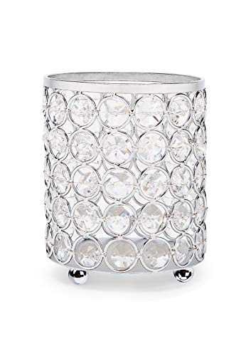 Manvi Crystal Makeup Brush Holder/Cosmetic Storage Organizer for Vanity Bathroom,Silver Crystal Candle Holders Centerpieces for Wedding Dinning Table Decor