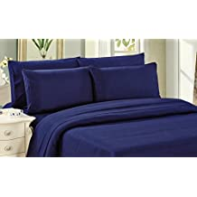 Bamboo Living Eco Friendly Egyptian Comfort Bedding 6 Piece Sheet Set (w/4 Pillowcases) (Navy Blue, Queen)
