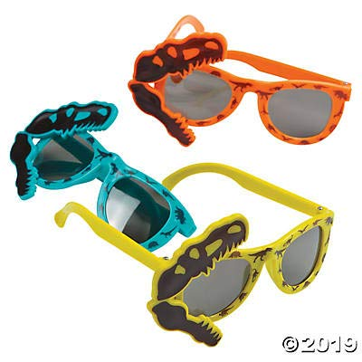 Fun Express Dino Dig Plastic Sunglasses- 12 Pack (Dino Party Favors) (Dinosaur Sunglasses)