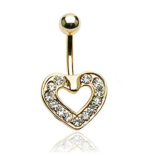 - West Coast Jewelry Gold Plated Pave Heart Navel Belly Button Ring - 14GA 3/8