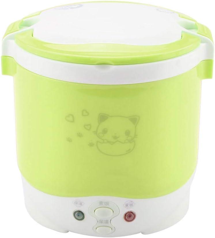 1L Mini vaporizador para cocinas de arroz, 170W Eléctrico, fiambrera multifuncional, calentador portátil de alimentos, vaporizador para cocinar arroz(Green)