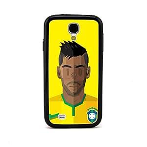 ecenter - cabeza de dibujos animados jugador de fútbol en relieve diseñoBrasil Neymar Júnior negro Bumper plastique + cas de TPU couverture for Samsung Galaxy S4 SIV i9500 Teléfono Móvil