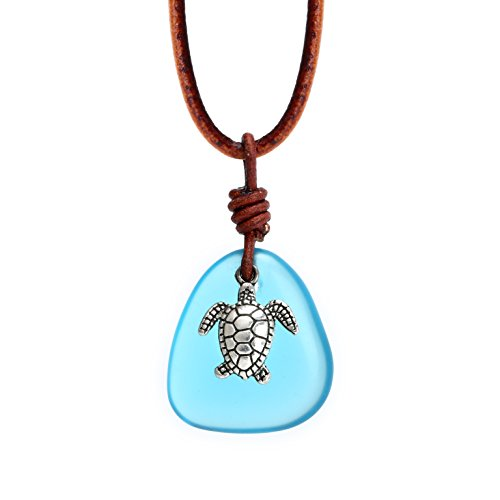 Glass Pendant Sea - Sea Turtle Necklace Glass Plated Pendant for Women with Turquoise Beaded Choker Necklace on Leather Cord Handmade Jewelry Gift