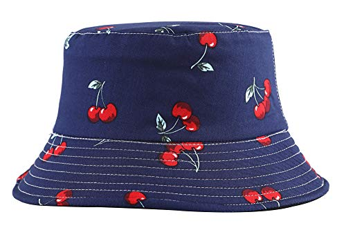 ZLYC Unisex Cute Print Bucket Hat Summer Fisherman Cap (Cherry Blue) ()