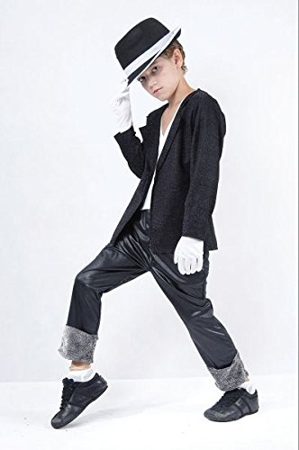 [Small Black Boys Superstar Jacket & Trousers] (Michael Jackson Billie Jean Costumes For Kids)