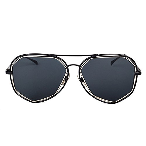 diseñador la marca negra DESESHENME del la negro lente Borde borde de sol Los gafas protege sol color espejo negros de gafas lente lente de de hombres negro negra w0vwq7