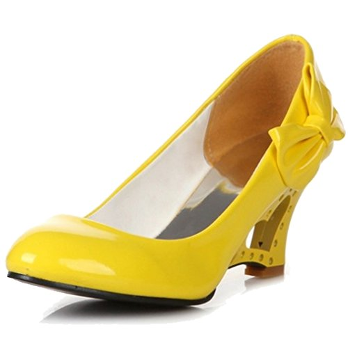 xmwealthy womens wedding party dress high heel pump with bow yellow us 9