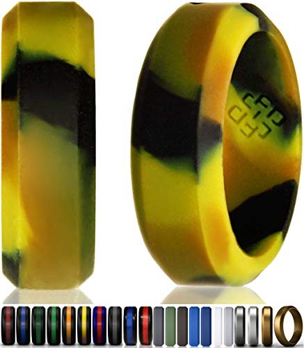 (Camo Silicone Wedding Ring Band for Men Size 11 | Superior 8mm Wide Rubber Rings - Premium Quality, Style, Safety, Comfort - Ideal Bands for Gym, Safe for Work, Hunting, Sports, and Travels)