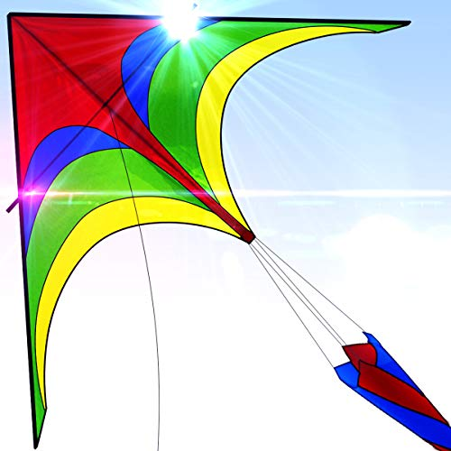 Easy to Fly Large Nylon Eagle Kite for Kids and Adults for Beach Trip & Outdoor Activities Perfect for Beginners Flies High in Light Breeze Flying String Line Included Big Flyer Childrens Toys ()