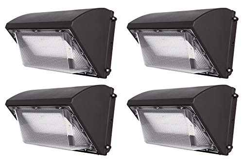 Hyperikon LED Wall Pack 50W Fixture, 260-325W HPS/HID Replacement, 5000K, 6500 Lumens, Commercial and Industrial Outdoor Lighting, IP65 Waterproof - DLC & UL, 4-Pack