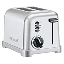 Cuisinart Stainless Steel 2-Slice Toaster with 1-1/2 inch Wide Toasting Slots, 6-Setting Browning Dial, with Defrost and Bagel Button, LED Indicator, Slide-out Crumb Tray with Convenient Cord Wrap