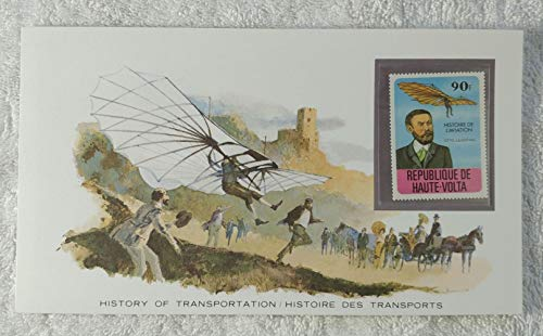 Otto Lilienthal - Postage Stamp (Republic of Upper Volta (Burkina Faso), 1978) & Art Panel - The History of Transportation - Franklin Mint (Limited Edition, 1986) - Father of Modern Aviation, Monoplane Hang Glider