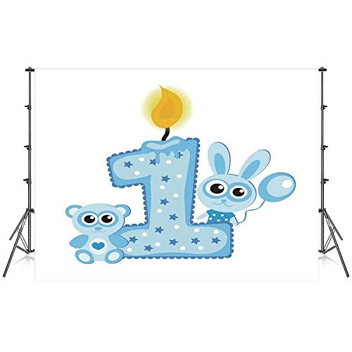 (1st Birthday Decorations Stylish Backdrop,Boys Party Theme with a Cake Candle Rabbit and Bear for Photography Festival Decoration,59''W x 39''H)